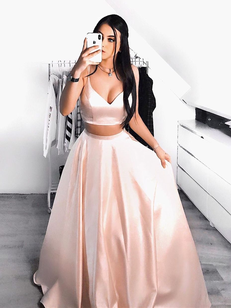 Stylish A Line V Neck Two Pieces Pink Prom Dress Simple V Neck 2 Pieces Pink Formal Graduation Evening Dress Piece Prom Dress Two Piece Homecoming Dress Pink Prom Dresses [ 1240 x 930 Pixel ]