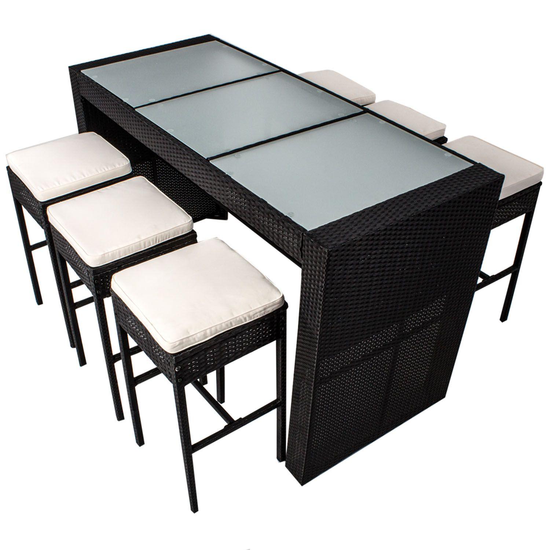 Bartisch 6x Hocker Schwarz Bar Set Mit Tisch 6 Barstuhlen