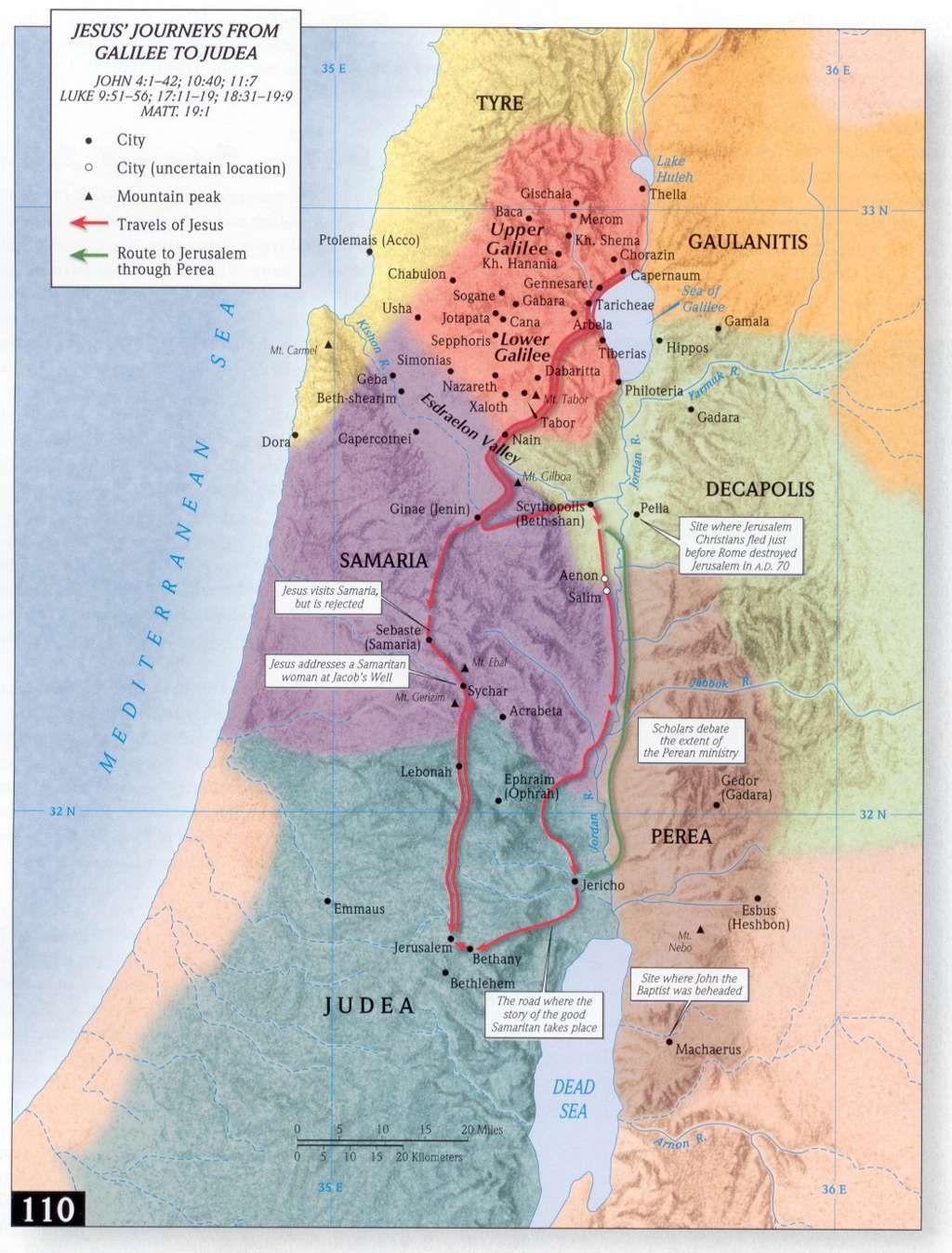 Jesus Journeys from Galilee to Judea Maps