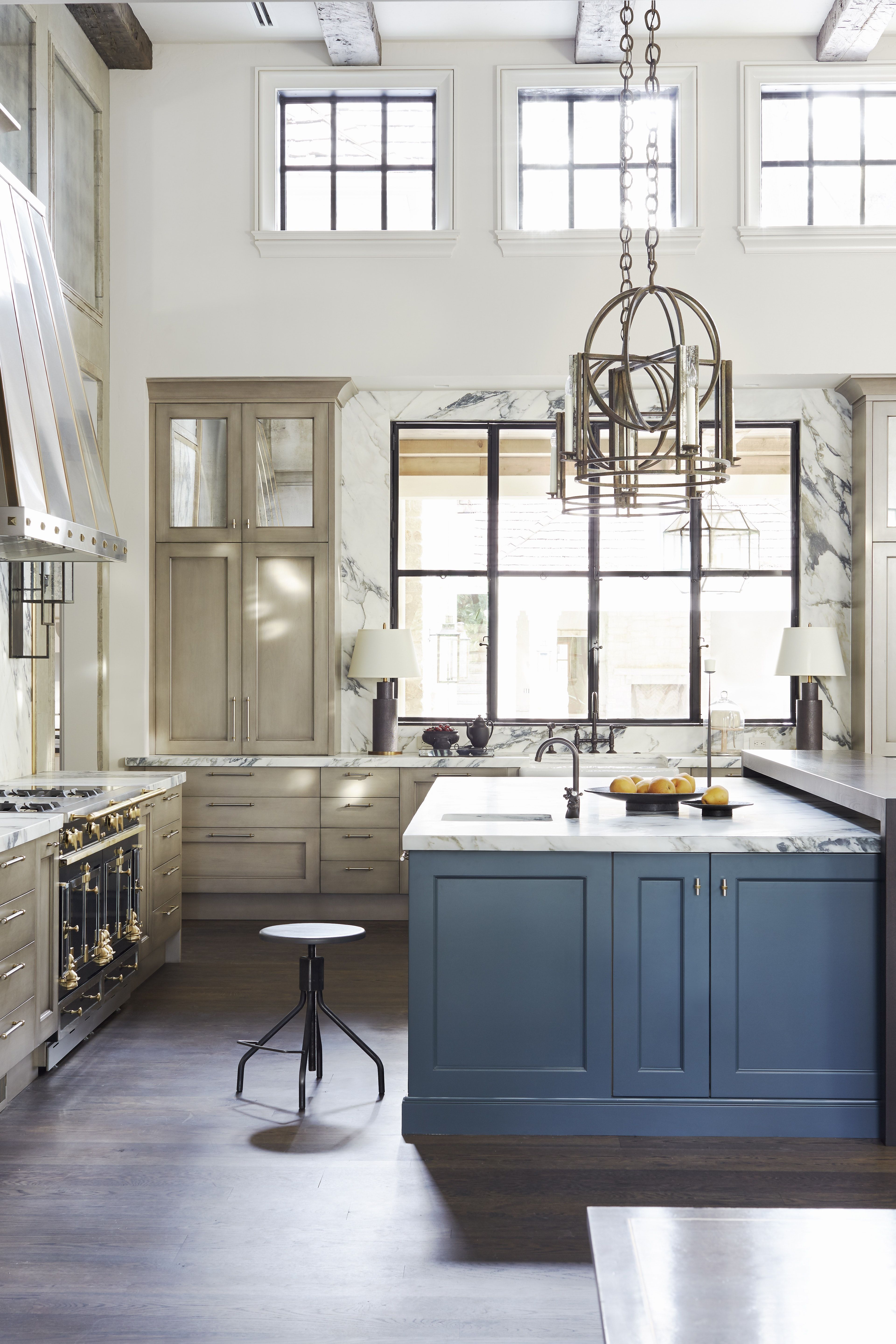 High Ceilinged Kitchen With Blue Island Cabinets Exposed Beams Kitchen Inspirations Kitchen Design Interior Design Portfolios