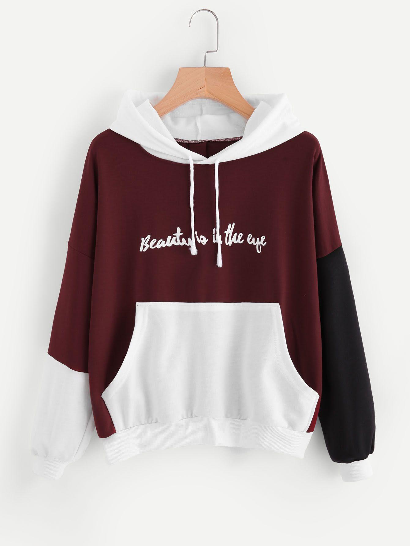 Hoodie Mit Farbblock Sloganmuster Und Kanguru Tasche German Shein Sheinside Hoodie Sweatshirts Kleidung Entwerfen Kawaii Kleidung