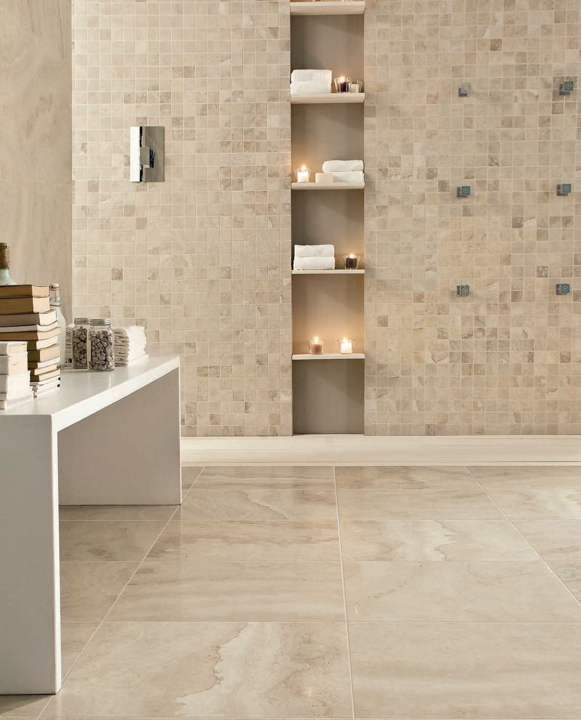 Caraculla Collection Floors Avorio Colour 450x450 Marble Look Porcelain Tiles Tile Shower