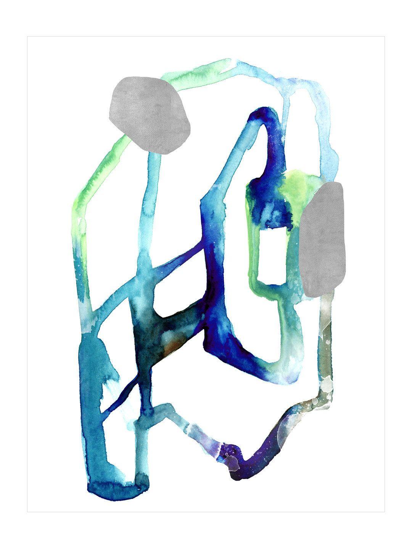 Free Flow V (GS) (Canvas) by Chelsea Art Studio blue