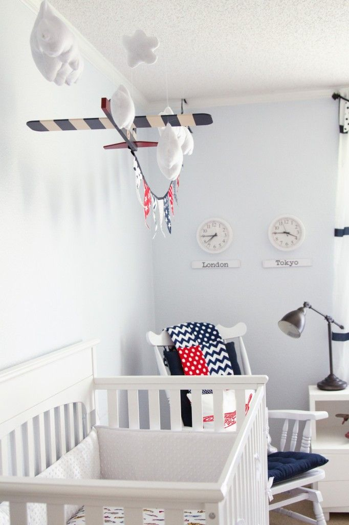 White Vintage Boy Airplane Room Very Cute Use Of Plane And Banner So Easy To Do Baby Nursery