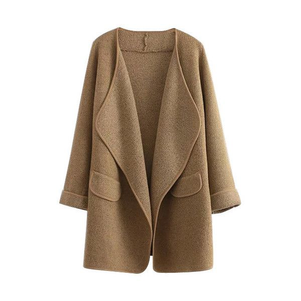 Camel Open Front Draped Cardigan ($33) ❤ liked on Polyvore ...