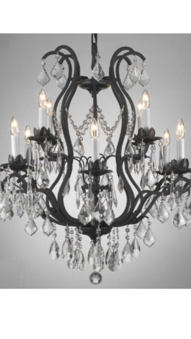 Wroght Iron Crystal Chandelier With Images Iron Chandeliers