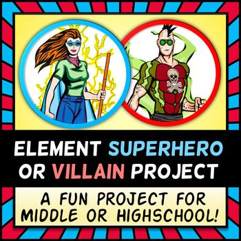 Element Superhero or Villain Project - Periodic Table Research - new modern periodic table elements arranged according