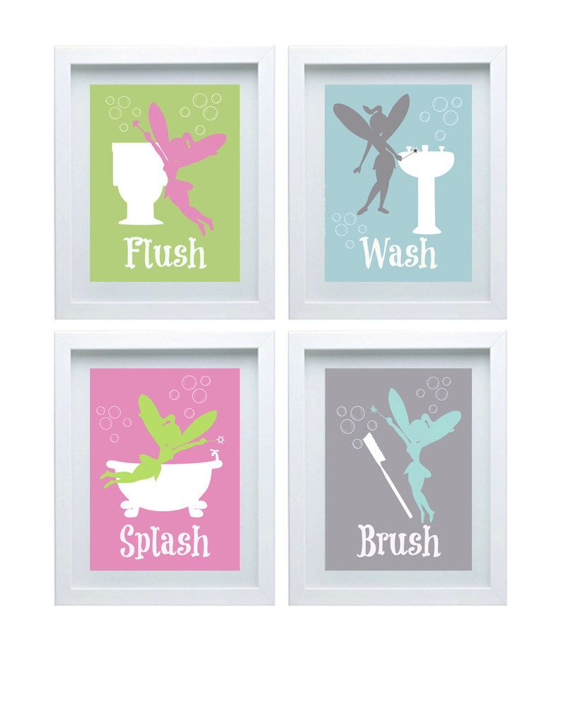 fairy wall decor kids bathroom decor set of 4-8x10 pink gray green