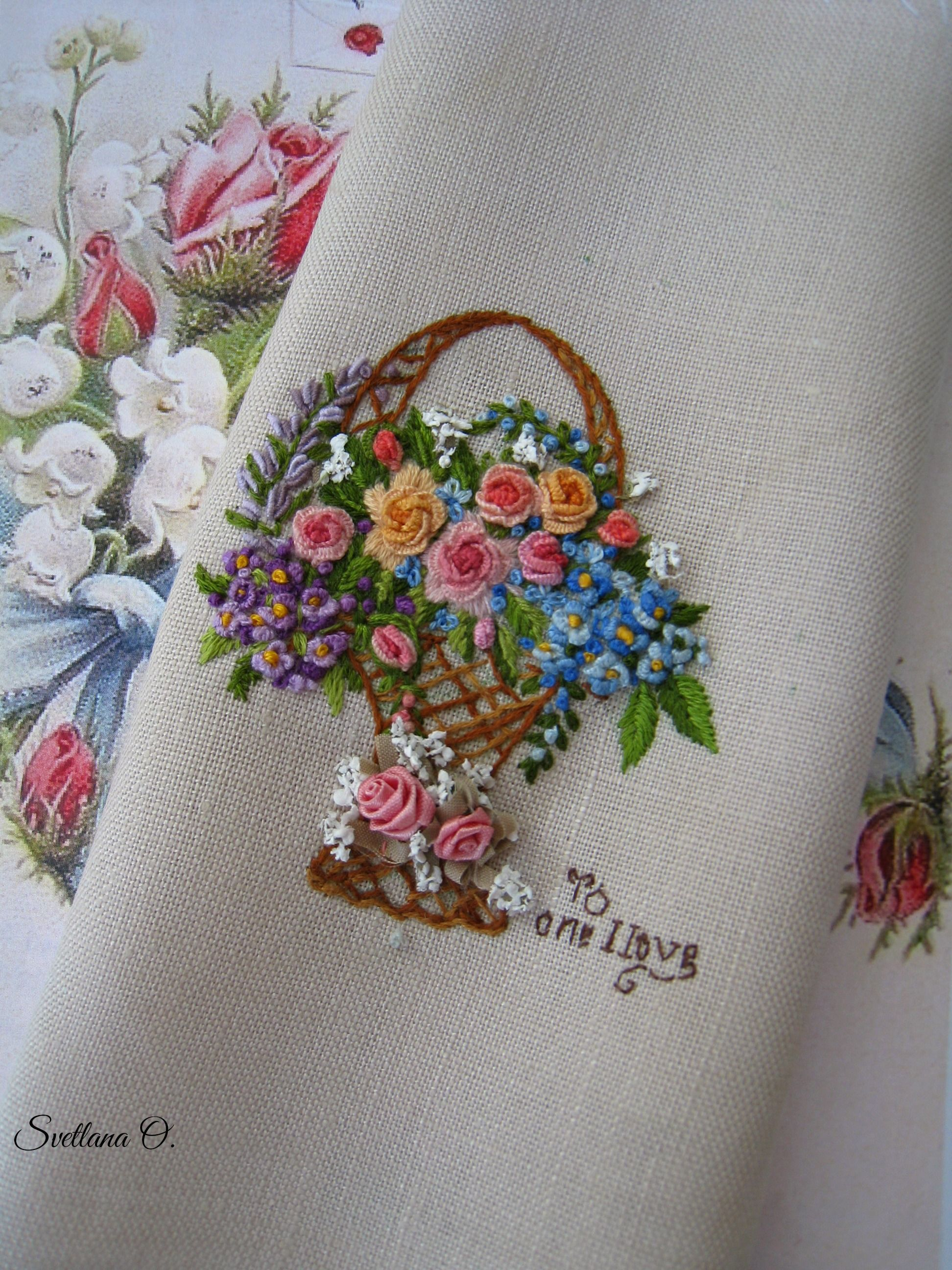 Embroidery, bullion stitch