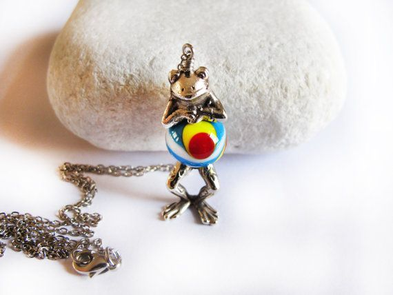Silver Plated Frog Necklace Frog Charm by GlassHouseLampwork, $25.00