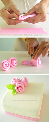 How to make fondant ribbon roses. Simple and easy for Mother's Day cakes, cupcakes, etc.