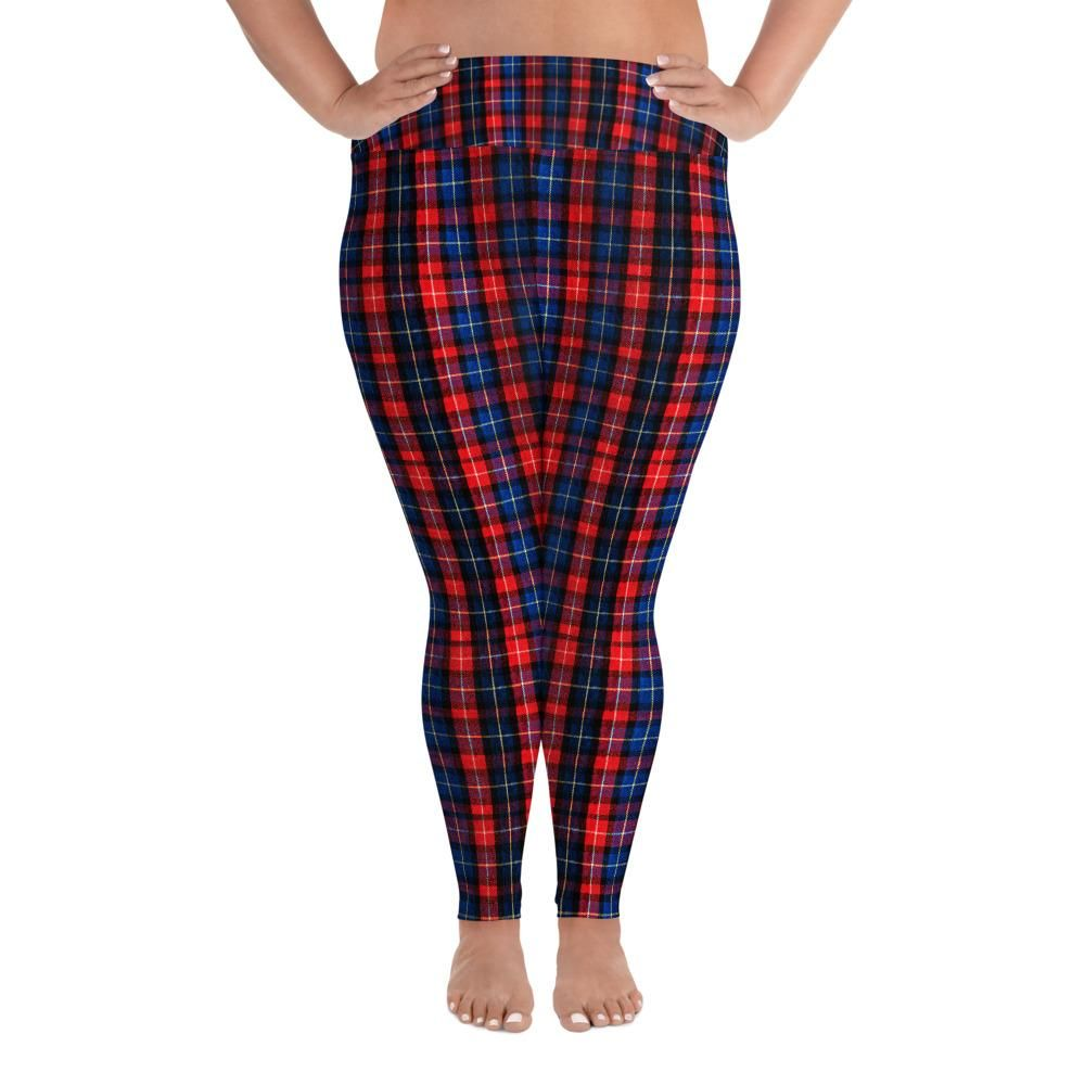 3f480048d71 Akira Red Plaid Print Women s Long Yoga Pants With Pockets Plus Size  Leggings -Made In USA (US SIze  2XL-6XL) Check out this extra comfortable