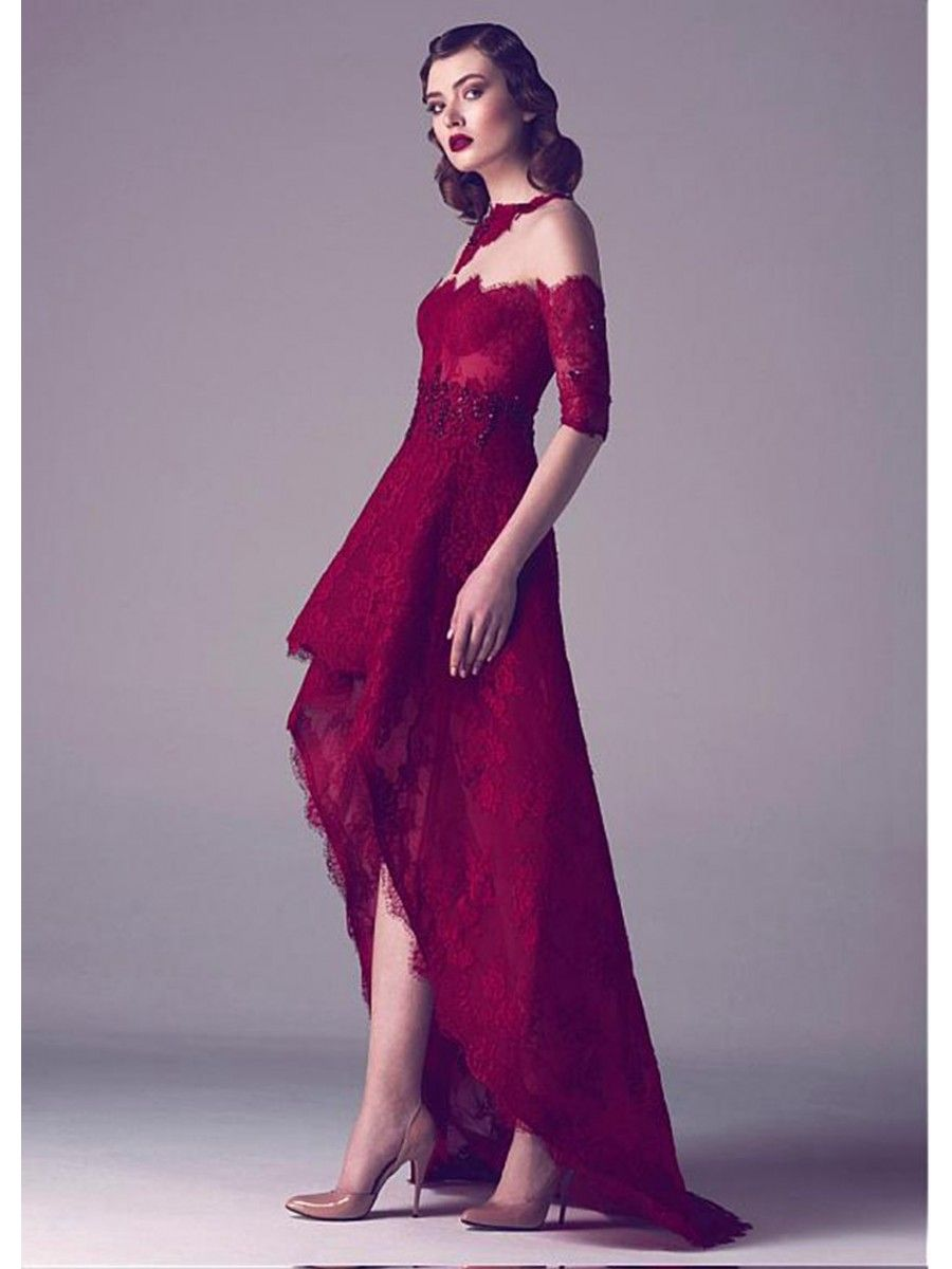High Low Lace Cocktail Homecoming Prom Dresses 99501088