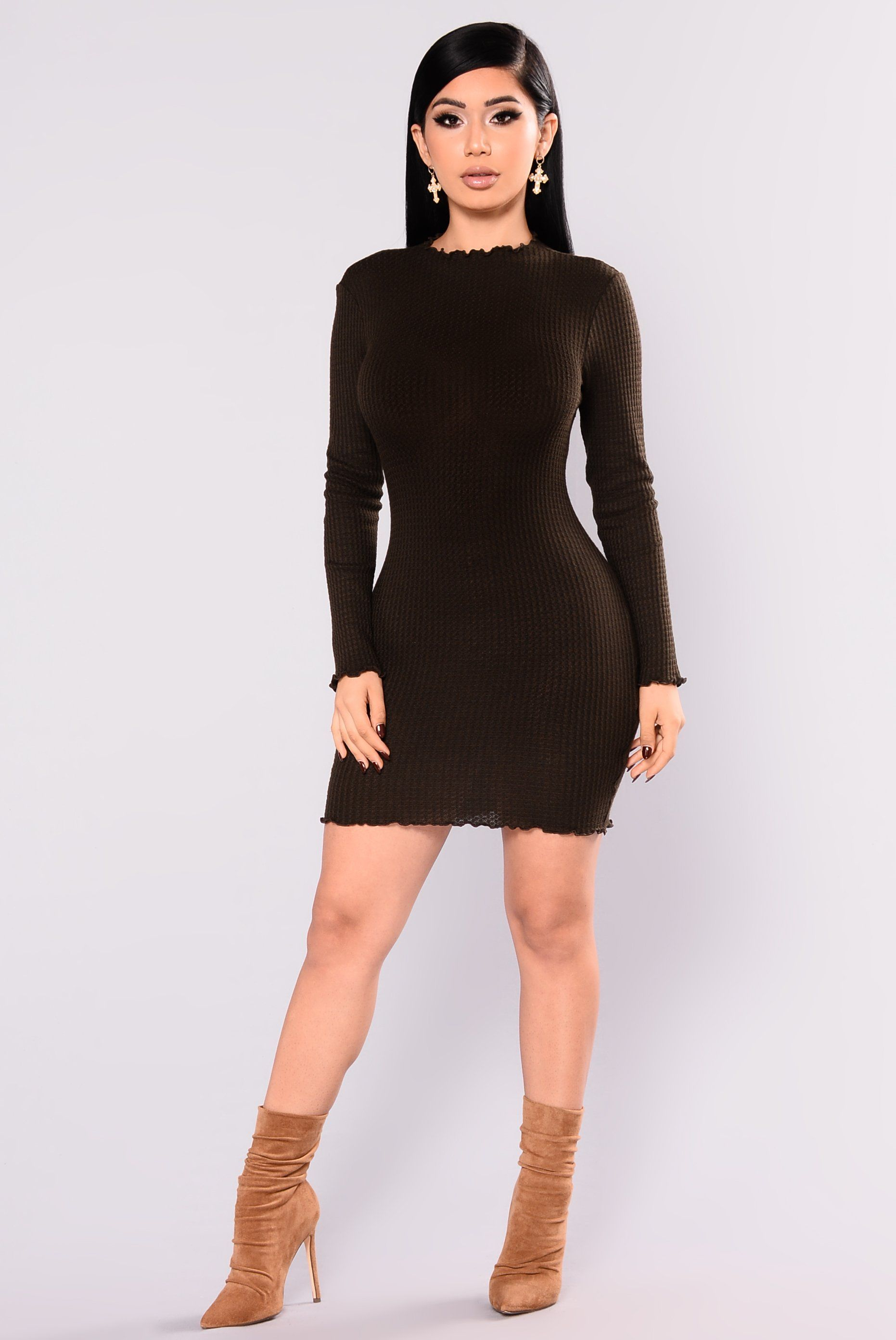 856d6c5612 Feels So Good Knit Dress - Olive