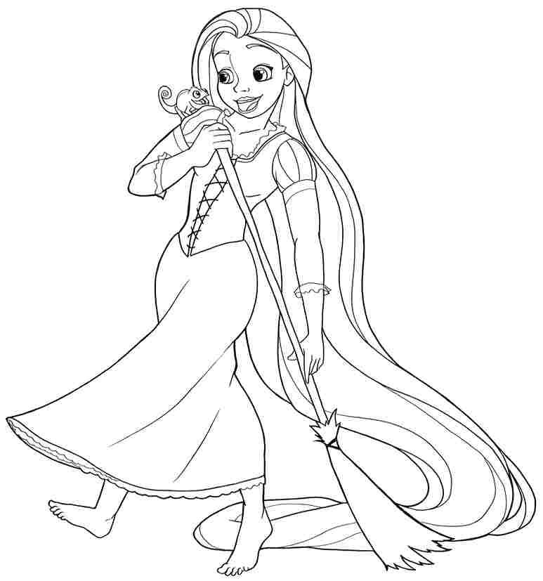 Princess Coloring Pages Rapunzel Print Out 773x