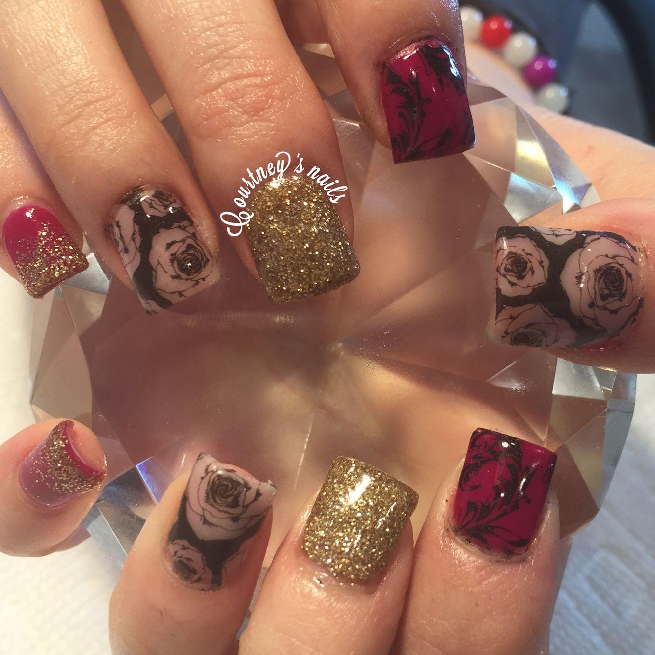 Fall nails roses nail stamps | Nails | Pinterest | Fall, Nails and ...