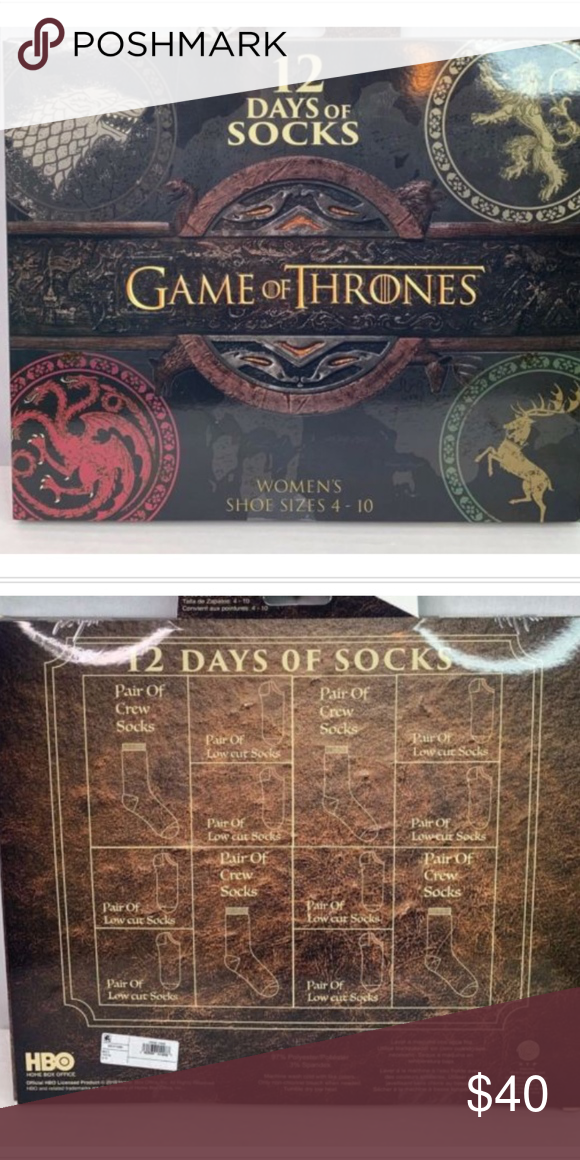 9a14e64c9744f Game of thrones Womens 12 days of socks Game of Thrones Women's 12 Days Of  Socks Shoe Size 4-10 Christmas Advent Calendar Sealed box Accessories  Hosiery & ...