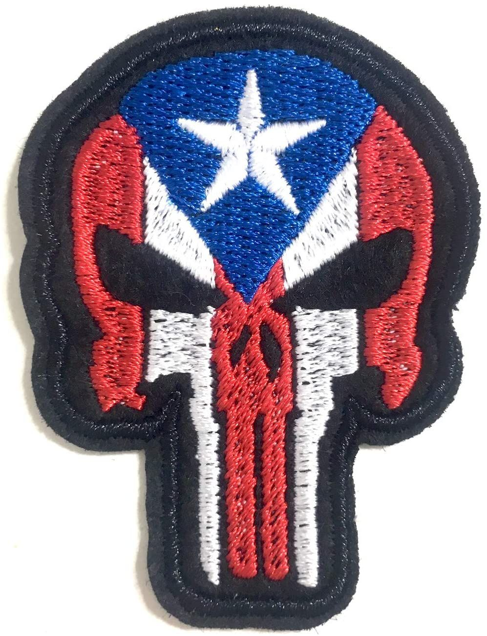 Puerto Rican Patches Clothing Accessories Easy Iron On Design Boricua Puerto Rico In 2020 Skull Patch Sew On Patches Skull Fashion