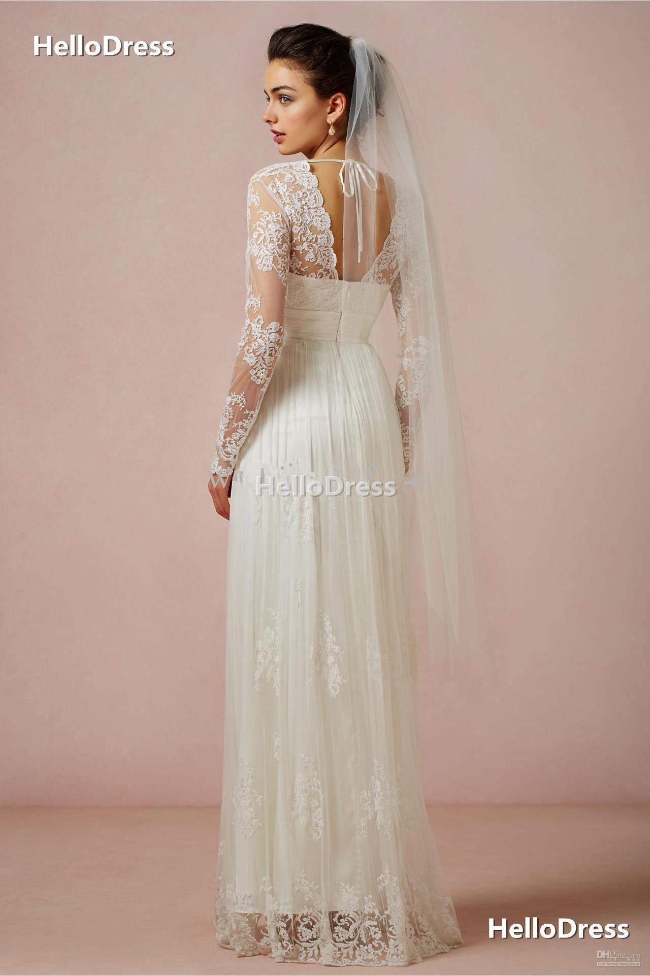Empire waist scalloped vneck long sleeves sheathcolumn wedding