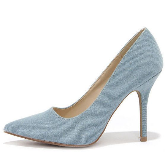 Womens Denim Fashion Sexy Party Pointy Toe Dress Casual High Heel Stiletto  Pumps