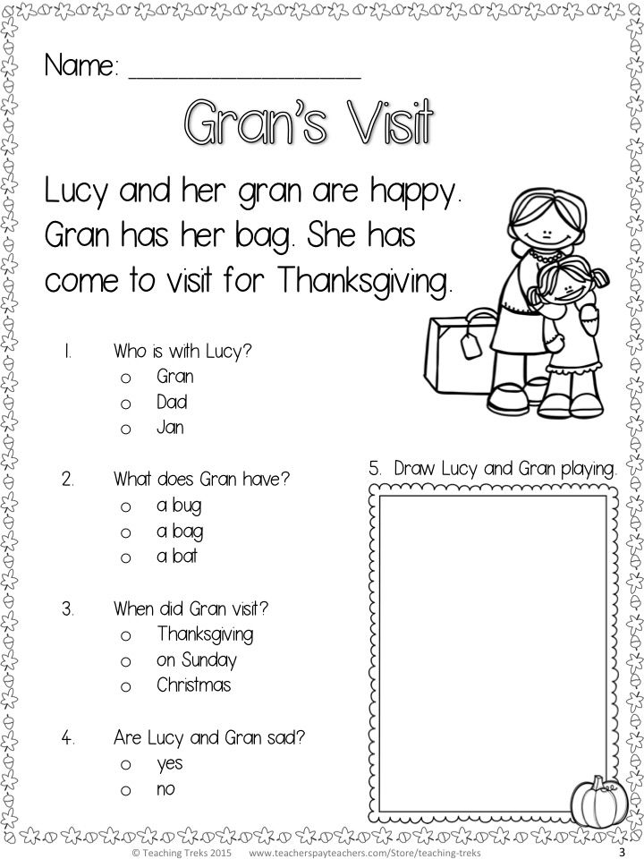 Thanksgiving FREE Reading Worksheets