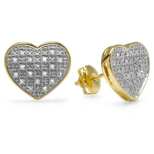 0.25 Carat (ctw) 18K Yellow Gold Plated Sterling Silver Diamond Heart Shape Ladies Stud Earrings 1/4 CT