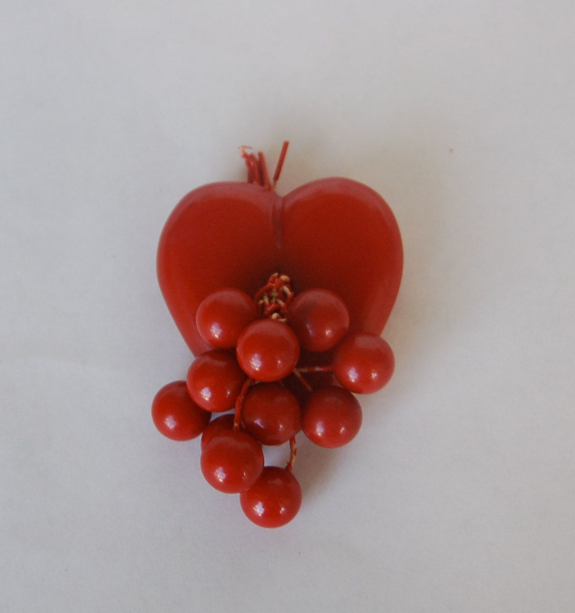 Bakelite Vintage Red Heart With Cherry Brooch.Etsy.