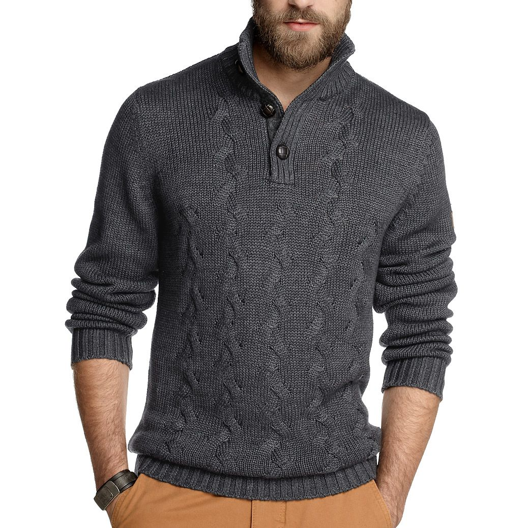 EDC ESPRIT Mens Button Neck Jumper Heavy Knitted Cotton Pullover ...