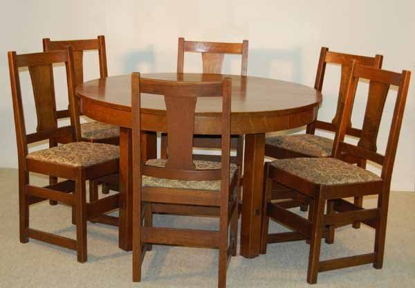 23 L Jg Stickley Dining Room Table And 6 Chairs