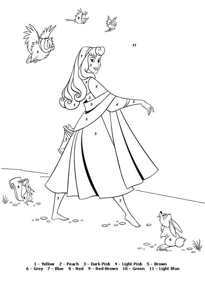 Color by Number Coloring Pages   Sleeping beauty coloring ...
