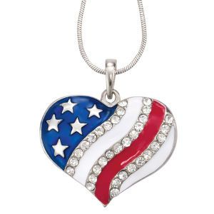 Enamel Silverplate Crystal Flag Pendant 18in-21in - Earrings, Necklaces, Rings, Bracelets, Pendants and More - Unique Jewelry at Affordable Prices | Nature's Jewelry
