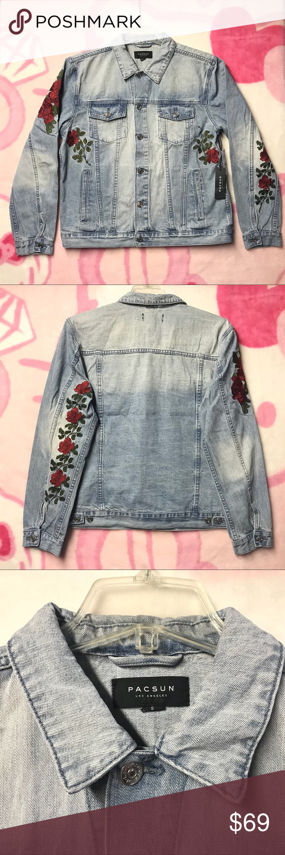New Pacsun Roses Mens Denim Jacket Size Small Nwt My Posh Picks