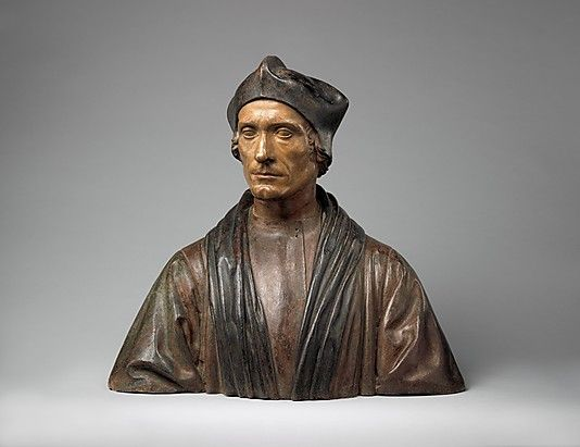 Portrait of an Unknown Man - Pietro Torrigiano  (Italian, Florence 1472–1528 Seville) - Polychromed terracotta - British - 1510-1515