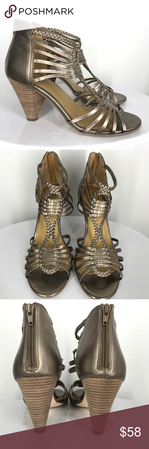 """Seychelles gold silver heels size 9 These Seychelles are in excellent condition! They are a true size 9. About 3"""" tall. Gold silver color. Seychelles Shoes Heels"""