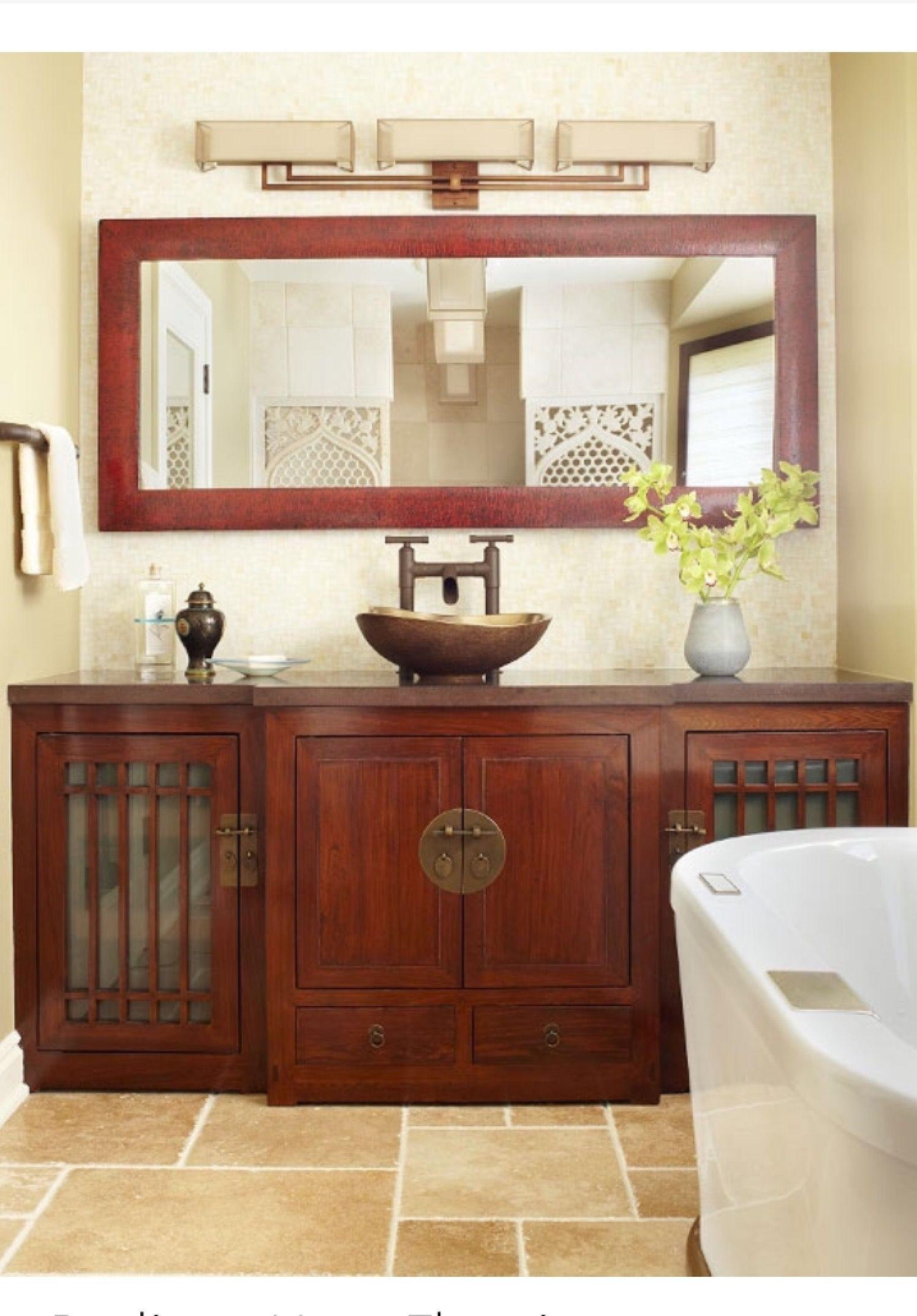 Beautiful Asian Inspired Bathroom Love It! #Decoratingbathrooms