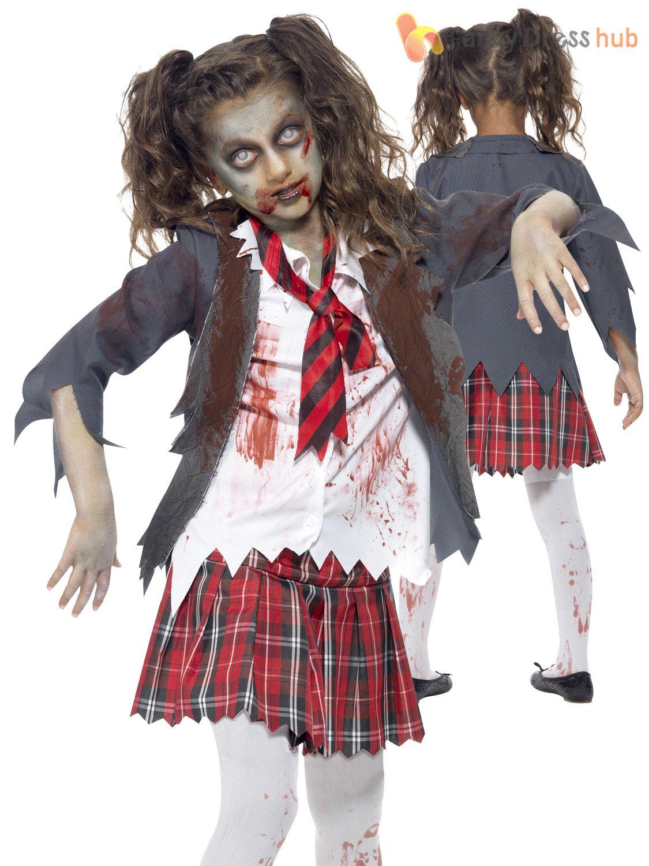 430ae712dbbb7 Age-7-15-Girls-Zombie-Cheerleader-Costume-School-Halloween-Fancy-Dress-Kids