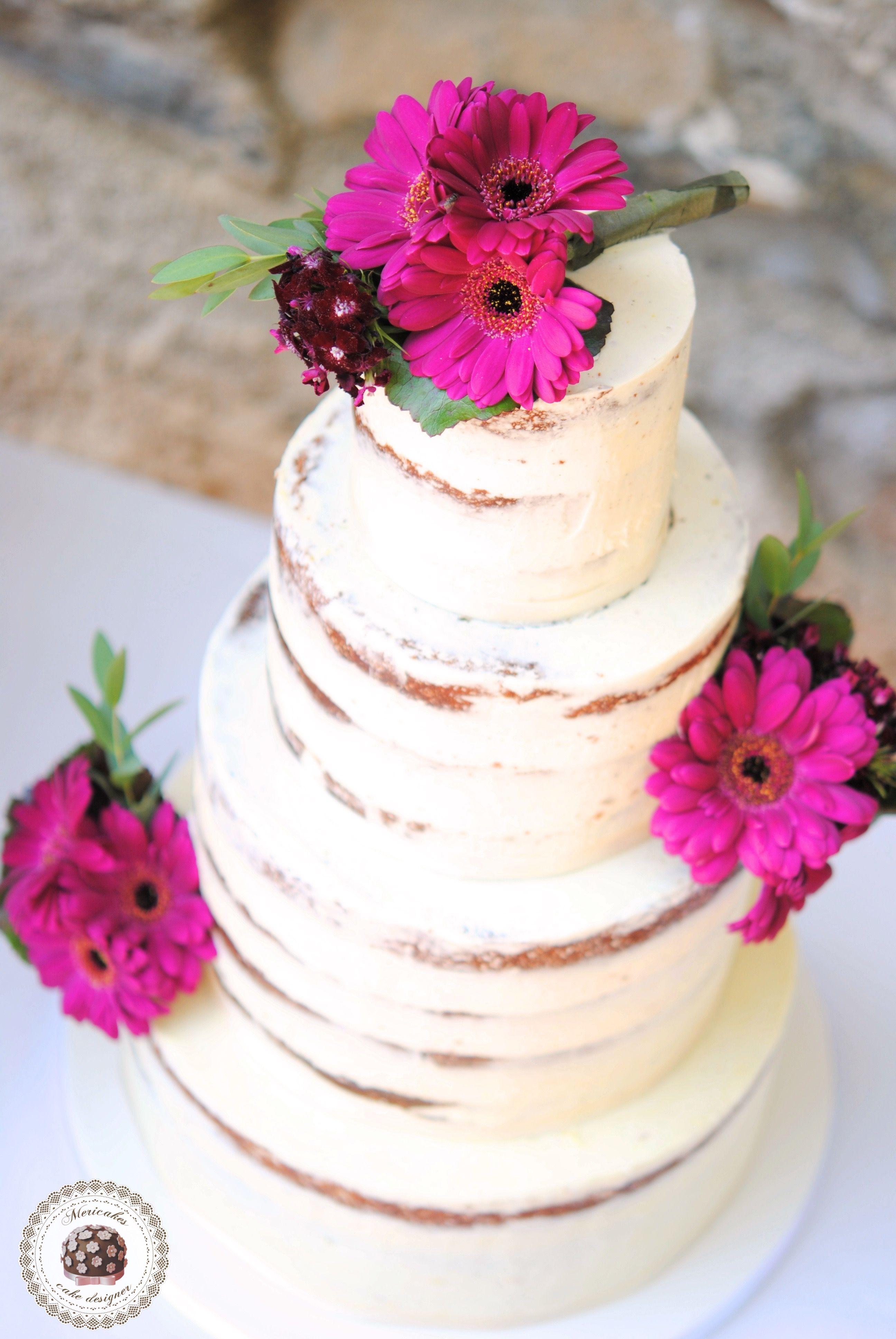 Naked Gerbera Wedding Cake #nakedcake #weddingcake #barcelonawedding ...