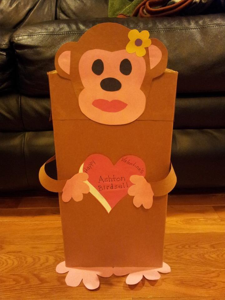 Monkey valentines box made from a shoeboxsized usps box