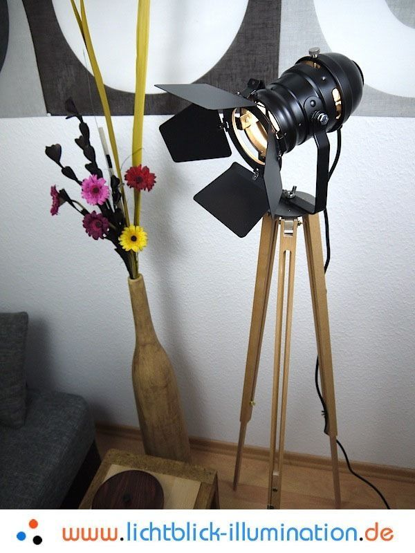 Fabulous Film Tripod Studio Strahler Bauhaus Steh Lampe Holz Stativ Spot Leuchte Art Deco eBay
