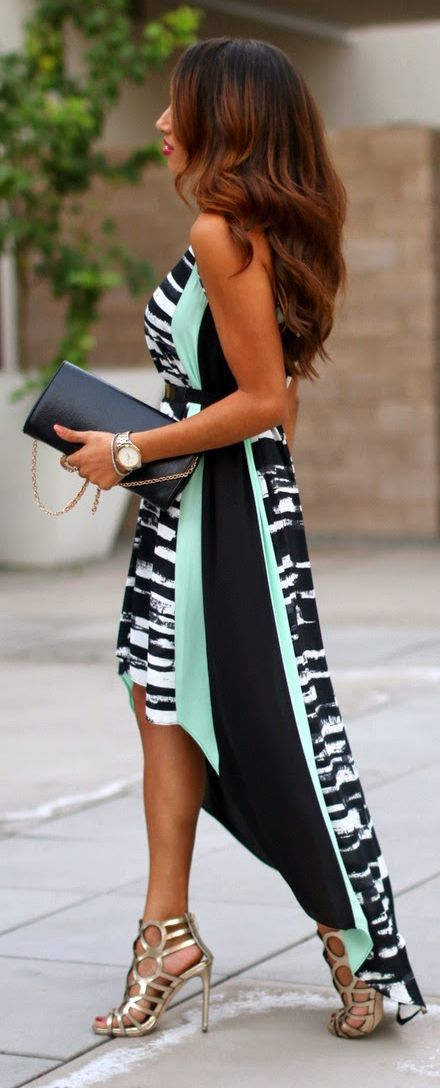 Bw And Teal High And Low Zebra Print Panel Cocktail Maxi Dress