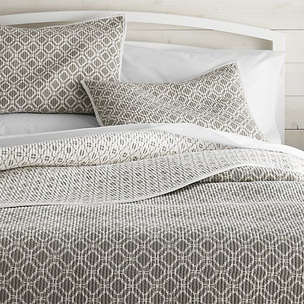 Raj Reversible Grey Quilts And Pillow Shams | Crate And Barrel *Footnote:  Depending Upon