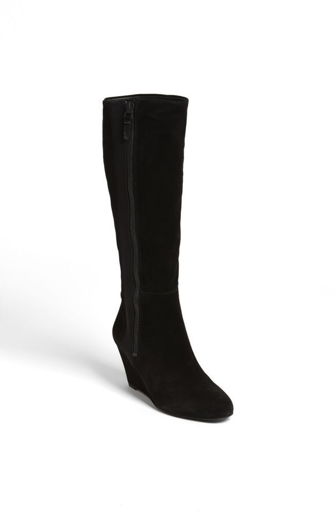 d0fbc0deea36d9 New Via Spiga Womens Felipa Suede Side Zip Wrapped Wedge Knee High Boots  Size 8  ViaSpiga  FashionKneeHigh