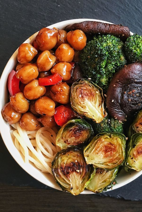 Easy Teriyaki Chickpeas With Super Crispy Brussels Sprouts