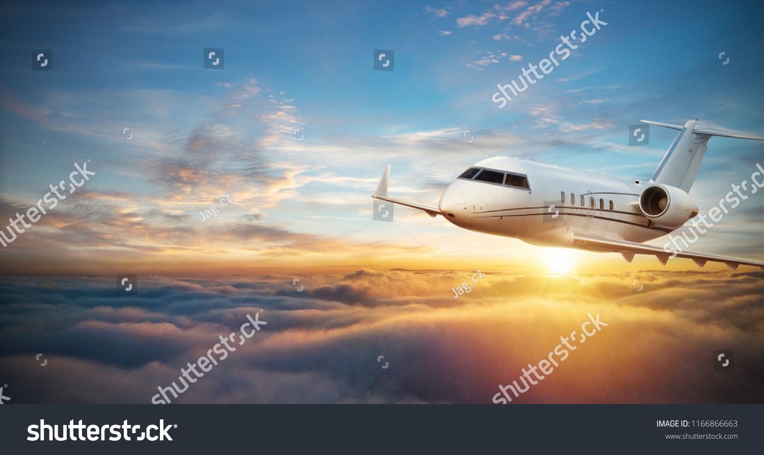 Luxury private jetliner flying above clouds. Modern and fastest mode of transportation, symbol of luxury and business traveling. #Sponsored , #ad, #flying#clouds#Modern#Luxury
