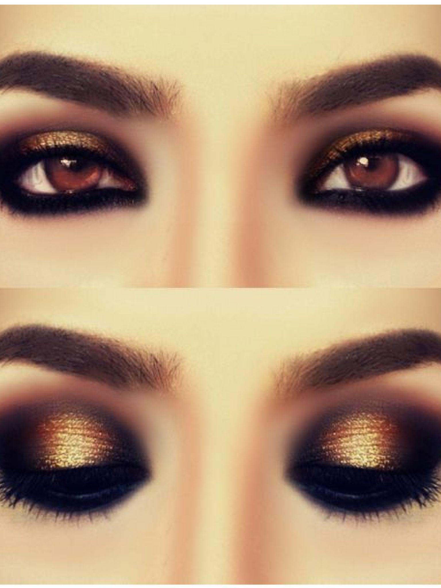 Smokey Gold Eyes Makeup Pinterest Gold Eyes Eye And Makeup