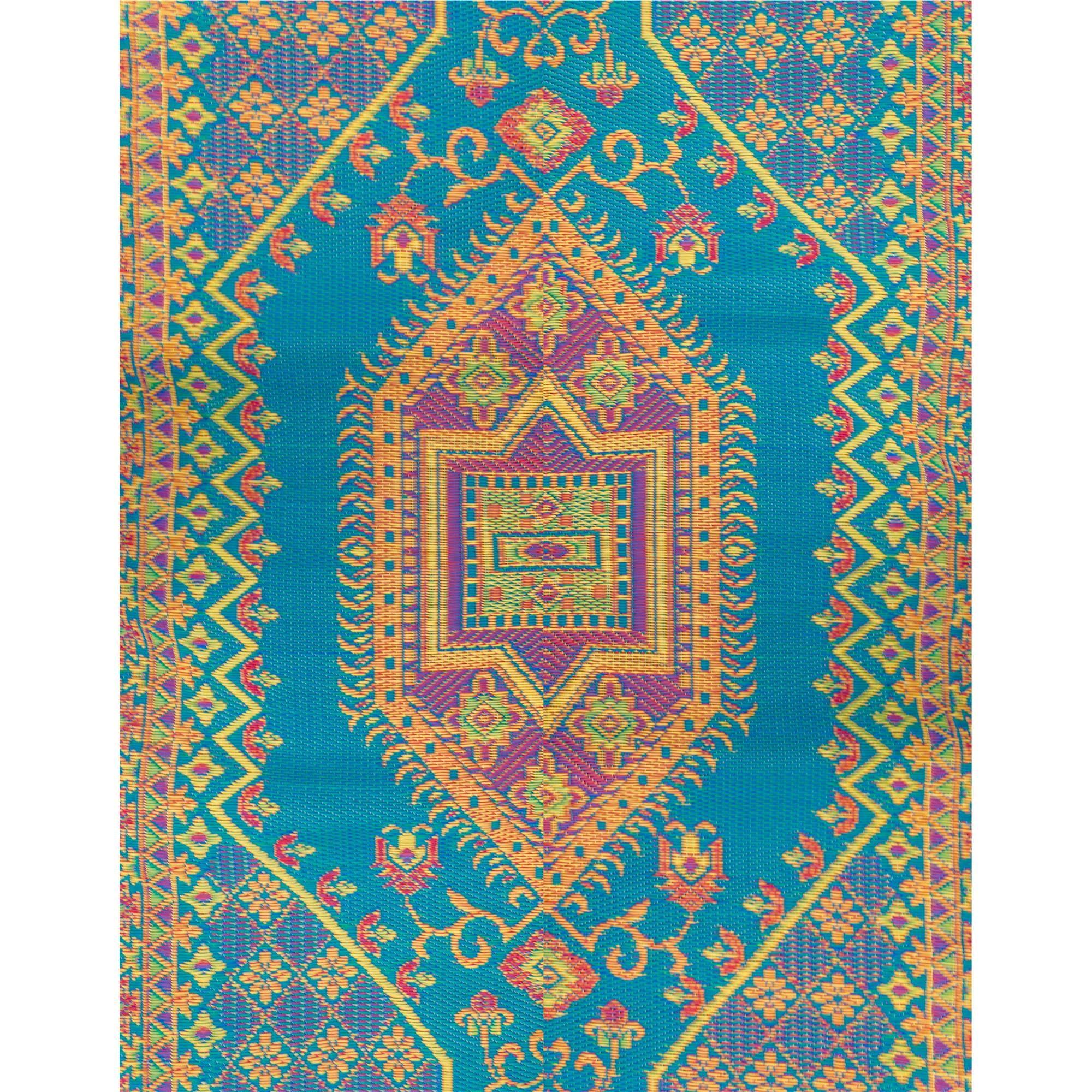 Oriental Turkish Aqua Outdoor Mat Made Of Plastic