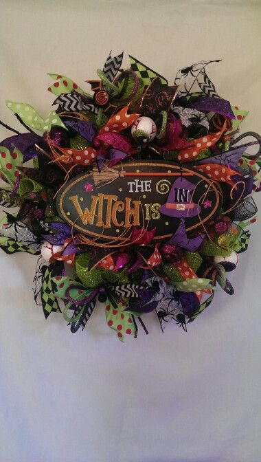 Halloween Deco Mesh Wreath $85 Check out my facebook page Kristin's Deco Mesh Wreaths