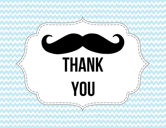 Mustache Thank You Card Little Man Theme By Paperdolldesigns14 My