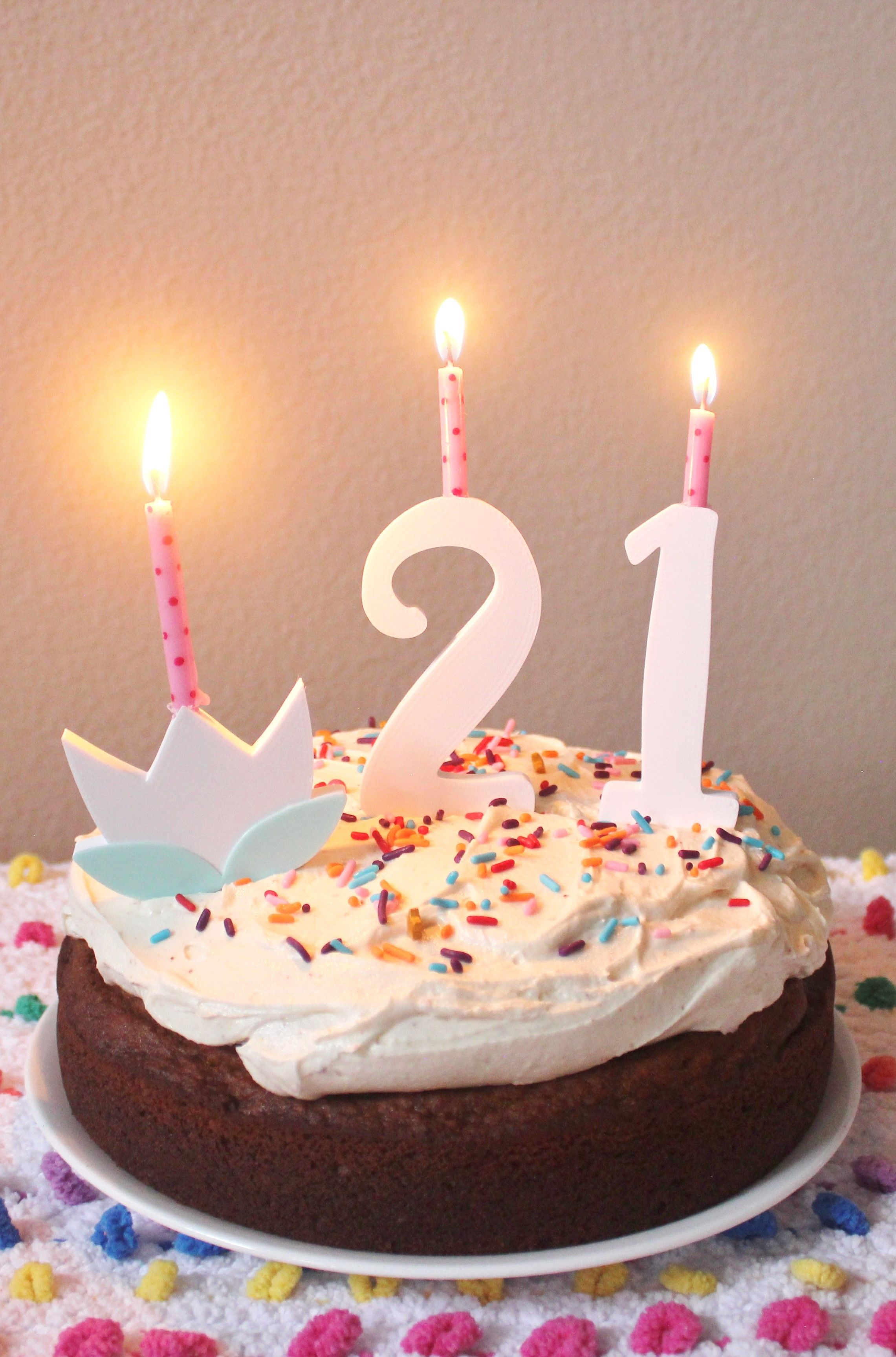 21st Birthday Cake Idea Reusable Age Number Candles Or Toppers 0 9 And Flower Can Hold Standard