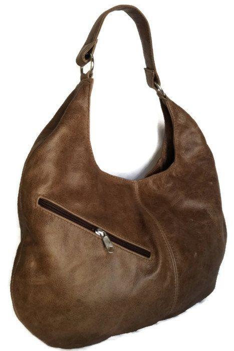 b53138365994 Genuine rustic brown leather large hobo purse shoulder handbag ...